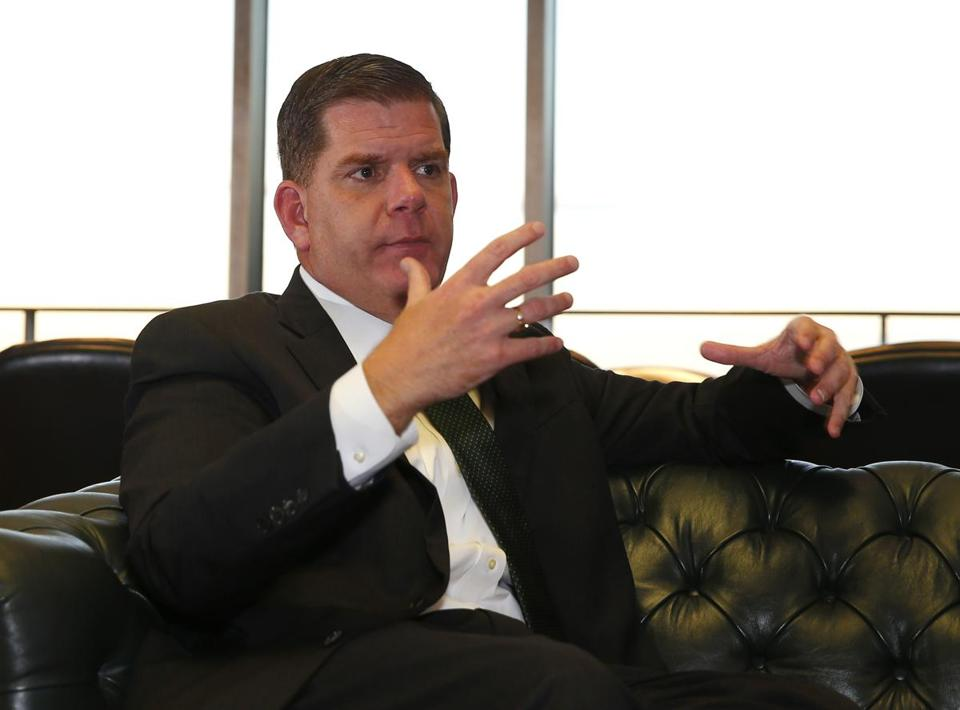 Boston, MA -- 11/17/2016 - Mayor Walsh and Chief Resilience Officer Dr. S. Atyia Martin (cq) speak during a sit down interview with the Boston Globe in the Mayor's office. (Jessica Rinaldi/Globe Staff) Topic: 18racedialoguepic Reporter: